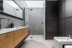 Gray and black bathroom. Modern, gray and black bathroom with shower, bidet, sink and wooden cabinet royalty free stock image