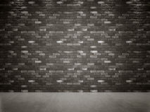 Gray Black Brick Wall foncé et plancher en béton Photos libres de droits