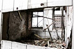 Gray and Black Concrete Crash Building Royalty Free Stock Images