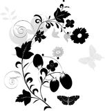 Gray and black floral decoration Royalty Free Stock Image