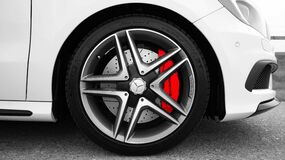 Gray and Black Mercedes Benz 10 Spoke Wheel Stock Photo