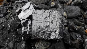 Gray and black natural coal close up. Natural black coals for background. Industrial coals . mining industry stock photo