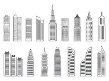Gray or black shapes of skyscrapers on white background stock image