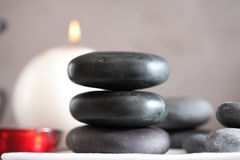 Gray and black stacked massage stones Royalty Free Stock Photography