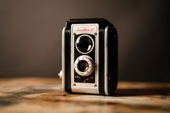 Gray and Black Vintage Camera stock image