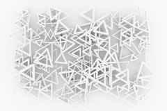 Gray or black and white b&w Bunch of triangle & star view from top. For graphic design or background, CGI geometric. 3D render. Gray or black and white b&w CGI vector illustration