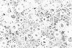 Gray or black and white b&w CGI geometric, bunch of triangle & star, view from top for design texture, background. 3D render. Gray or black and white b&w royalty free illustration