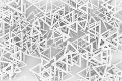Gray or black and white b&w CGI geometric, bunch of triangle & star, view from top for design texture, background. 3D render. View from top, bunch of triangle royalty free illustration