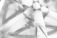 Gray or black and white b&w Illustrations of CGI, random geometric, backdrop for graphic design or wallpapers. 3D render. CGI, random geometric backdrop, for royalty free illustration