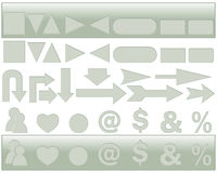 Gray blank web buttons, arrows and icons. Stock Photography