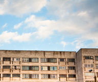 Gray blocks with flat houses. Sky and blocks as we can see everyday but never remember it Royalty Free Stock Photography