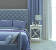 Gray and blue bedroom Royalty Free Stock Photography