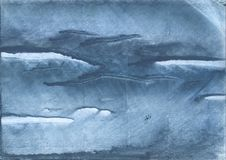 Gray Blue clouded wash drawing painting Stock Image