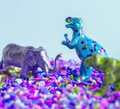 Gray and Blue Dinosaure Ffigurines Stock Photography