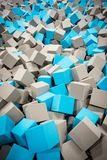 Gray and blue foam cubes in foam pit royalty free stock photos