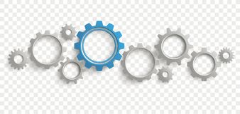 Gray Blue Gears Transparent Header. Infographic header with gray and blue gears on the checked background royalty free illustration
