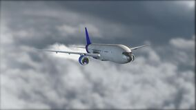 A gray-blue jetliner flying above the clouds. Blurred background. Airplane. Realistic 3D visualization. The grey clouds