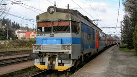 Close-up on electric multiple unit of Class 460 operated by CD in Mosty u Jablonkova in Czechia. stock images
