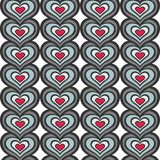 Gray blue red hearts in rows seamless pattern Stock Images