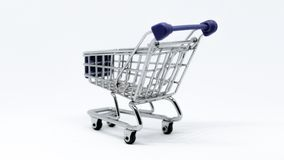 Gray and Blue Stainless Steel Shopping Cart Royalty Free Stock Photography