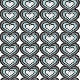 Gray blue vertical rows of hearts seamless pattern Stock Image