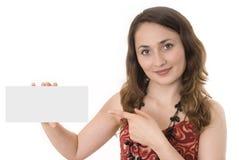 Gray board. Beautiful woman holding empty gray board Royalty Free Stock Photos