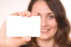 Gray board. Beautiful woman holding empty gray board Royalty Free Stock Photography