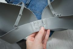 Gray bodice in a female hand. Detail. Fashionable concept.  Royalty Free Stock Photography
