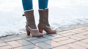 Gray boots with heels with white fur Stock Photography