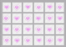 Gray Border Background with Pink Hearts Royalty Free Stock Image