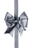 Gray bow made from silk ribbon Stock Images