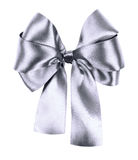 Gray bow made from silk ribbon Stock Photography