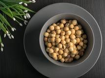 Bowl with hazelnuts royalty free stock photos