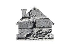 Free Gray Brick Background. Shot Through The Cut-out Silhouette Of House Royalty Free Stock Images - 213281399