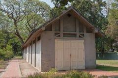 Gray brick brick building. Vintage style.  Royalty Free Stock Image