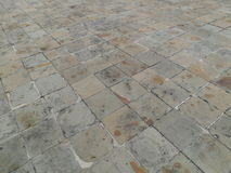 Gray brick pathway in a small park Royalty Free Stock Images