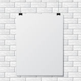 Gray brick wall with paper. White brick wall with gray paper and shadow Stock Photos