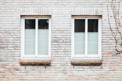 Gray brick wall with two windows Stock Image