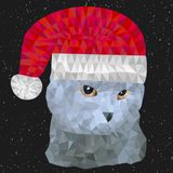 Gray british cat with christmas hat vector illustration