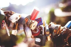 Gray Brown and Black Padlocks Compress Together Royalty Free Stock Photo