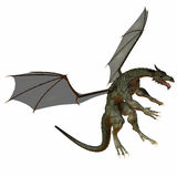 Gray Brown Dragon. A creature of myth and fantasy the dragon is a fierce flying monster with horns and large teeth Stock Photos