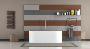 Modern bathroom with bathtub Royalty Free Stock Images