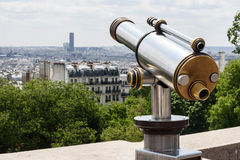 Gray and Brown Tower Telescope Near Trees and High Rise Buildings Stock Images