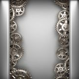 Gray brushed metal background with gears Stock Images