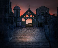 Stone Stairs Dark Gothic Background Stock Image