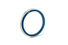 Gray and bule oil seal isolated on white background Stock Image