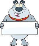 Gray Bulldog Cartoon Mascot Character, der eine Fahne hält Lizenzfreie Stockfotos