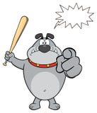 Gray Bulldog Cartoon Mascot Character enojado que celebra un palo y señalar Fotos de archivo libres de regalías