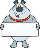 Gray Bulldog Cartoon Mascot Character Holding A Banner Royalty Free Stock Photos