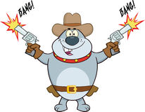 Gray Bulldog Cowboy Cartoon Character-Schießen mit zwei Gewehren Stockfotografie